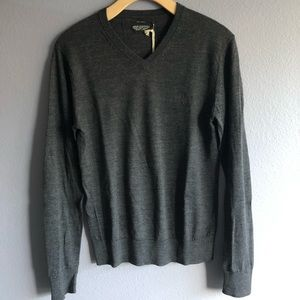 All Saints Grey Merino Wool V-neck sweater